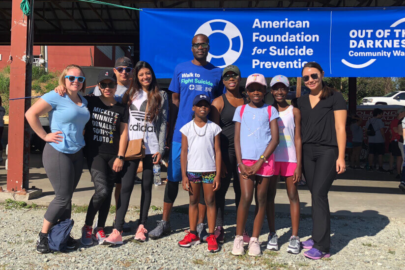Dr. Nettey-Marble and his dental family smile at the Out of the Darkness Suicide Prevention Community Walk