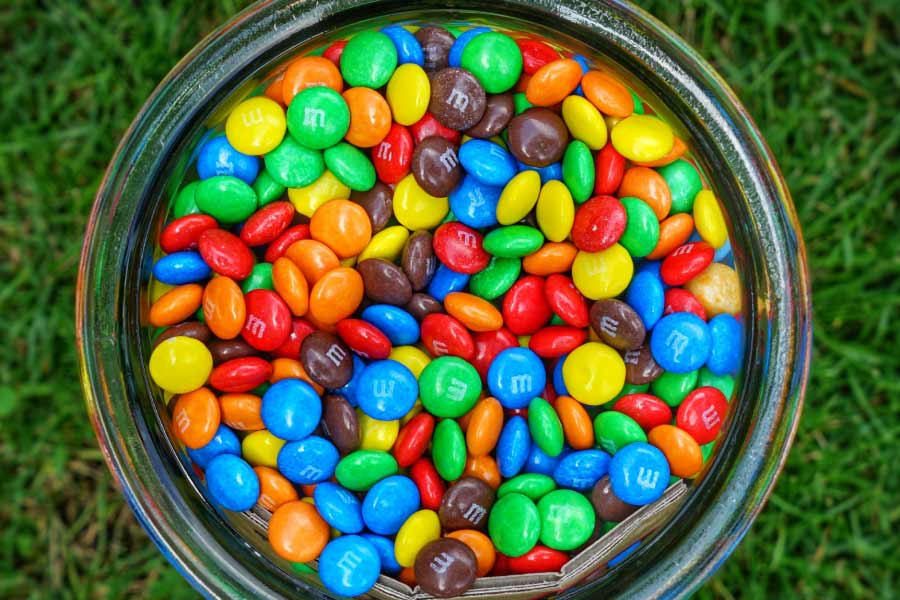 bowl of m&ms candy